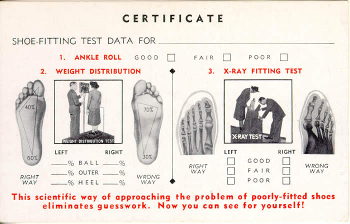shoe-fitting certificate